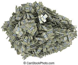 wealth., soldi, dollaro, ci, mucchio, fasci