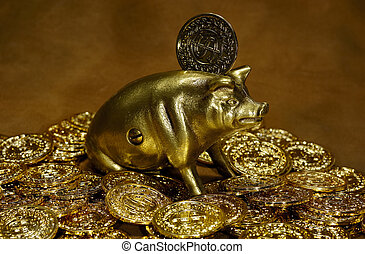 Wealth - Photo of Gold Coins and a Brass Piggy Bank