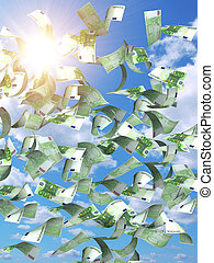 Symbol of wealth and success - rain from euros