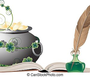 Wealth symbols - Pot with gold coins, old book and feather ...