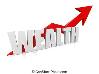 Wealth with upward red arrow