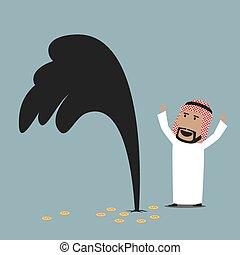 Wealthy arabian businessman with oil gusher