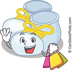 wealthy baby boy boots cartoon character with shopping bags