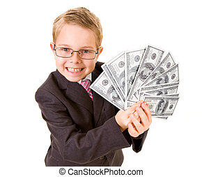 Wealthy boy - Portrait of happy boy with dollar bills...