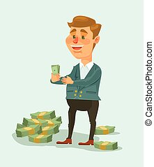 Wealthy businessman character counts money. Vector flat cartoon illustration