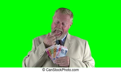 Wealthy man - Businessman counting euro banknotes