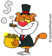 Tiger Carrying A Pot Of Gold