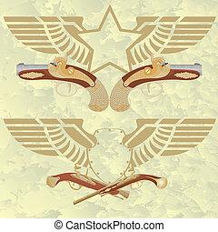 weapo, antiga, asas, emblemas