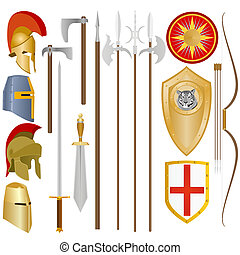 Weapon and armor of ancient soldiers - Weapon and armor of...