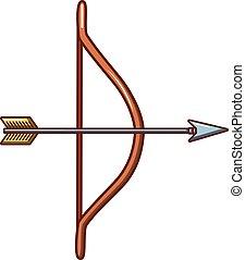 Weapon bow icon, cartoon style