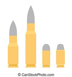 Weapon Bullet Icons Set isolated on White Background. Vector