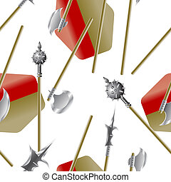 Weapon collection, medieval weapons, seamless wallpaper, vector illustration