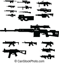weapon collection vector isolated on white