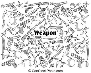 Weapon colorless set vector illustration