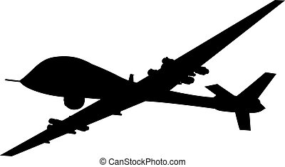 Weapon. Drones - Drone flying vector silhouette. EPS 8