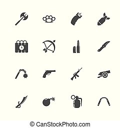 Weapon - Flat Vector Icons - Weapon icons. Perfect black...
