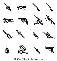 Weapon Icons Black - Weapon icons black set with bazooka...