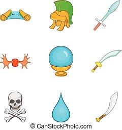 Weapon icons set, cartoon style - Weapon icons set. Cartoon...