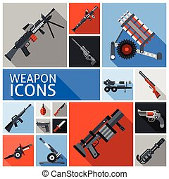 Weapon Icons Set - Weapon decorative icons set with machine...