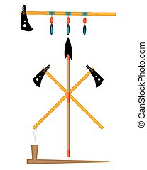 weapon Indians - Indian tomahawk weapon spear smoking pipe ...