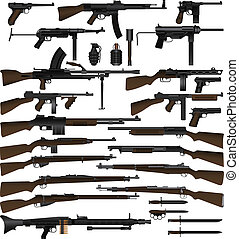 Weapon - Layered vector illustration of various weapons ...