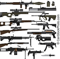 Layered vector illustration of various weapons which mainly be used at World War II.