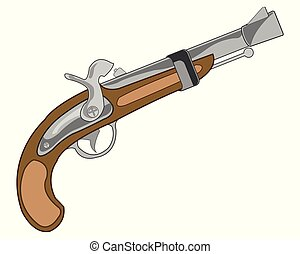 Weapon old-time fusil - Antique old-time gun on white...