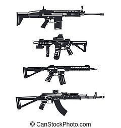 weapon rifle set - Modern illustration of various assault...