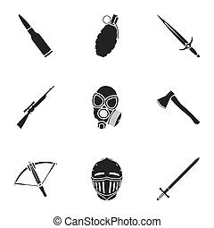 Weapon set icons in black style. Big collection of weapon...