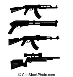 weapon silhouettes - vector collection of weapon silhouettes