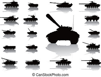 Tanks detailed silhouettes set. Vector on separate layers