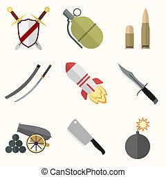 Weapon vector icon set