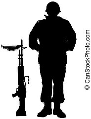 Weapon whit soldier - Vector drawing of a soldier in uniform...