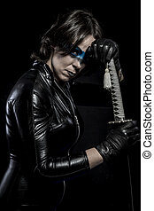 Weapon, Woman with katana sword in latex costume
