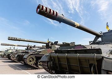 weaponry, og, militær, udrustning, i, bevæbne fremtvinge, i,...