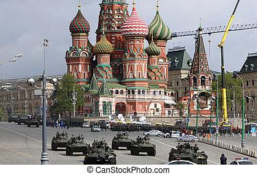 weapons., パレード, kremlin, モスクワ, リハーサル, ロシア人, 軍, ロシア