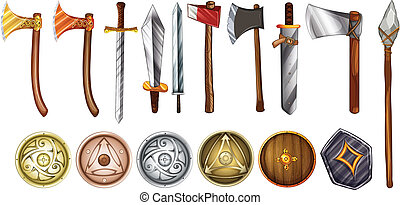Weapons and shields - Illustration of a set of weapons and...