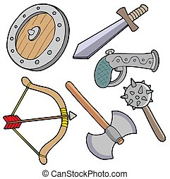 Weapons collection - isolated illustration.