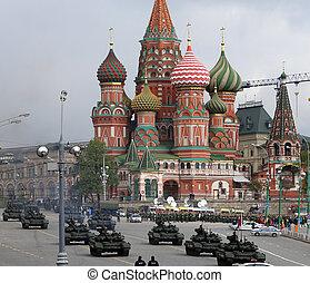 weapons., desfile, kremlin, moscú, ensayo, ruso, militar,...