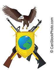 Weapons - Flying eagle, shield and sword, for which depicted...