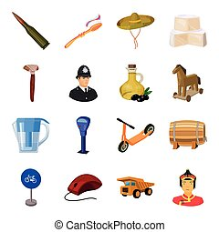 Weapons, food, parking and other web icon in cartoon style. transportation, dentistry, winemaking icons in set collection.