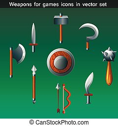 weapons for games icons vector set