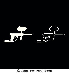 Weapons for paintball icon set white color illustration flat style simple image