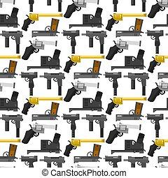 Weapons guns pistols submachine assault rifles seamless pattern background handgun bullets vector illustration.