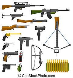 Weapons guns pistols submachine assault rifles sniper knife handgun bullets icons vector illustration.