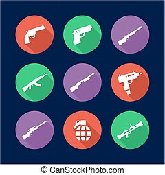 Weapons Icons Flat Design Circle - This image is a...