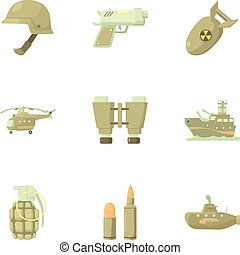Weapons icons set, cartoon style