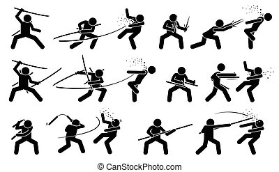 weapons., japonaise, combat, traditionnel, melee, adversaire, attaquer, homme