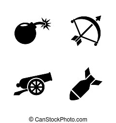 Weapons of War. Simple Related Vector Icons Set for Video,...