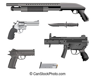 realistic illustration guns equipment - isolated